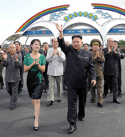 Kim Jong-Un is accompanied by his wife Ri Sol-Ju